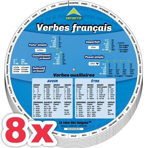 Combo 8 X La roue des verbes français