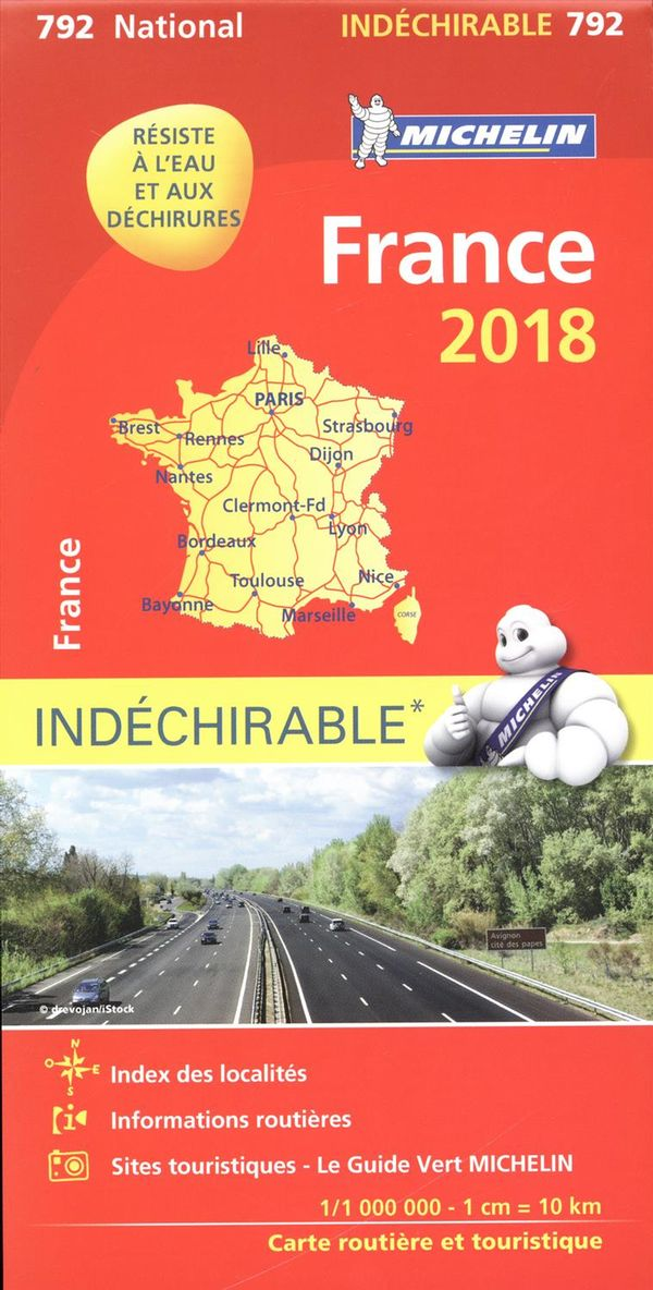 France 792 carte national 2018 indéchirable