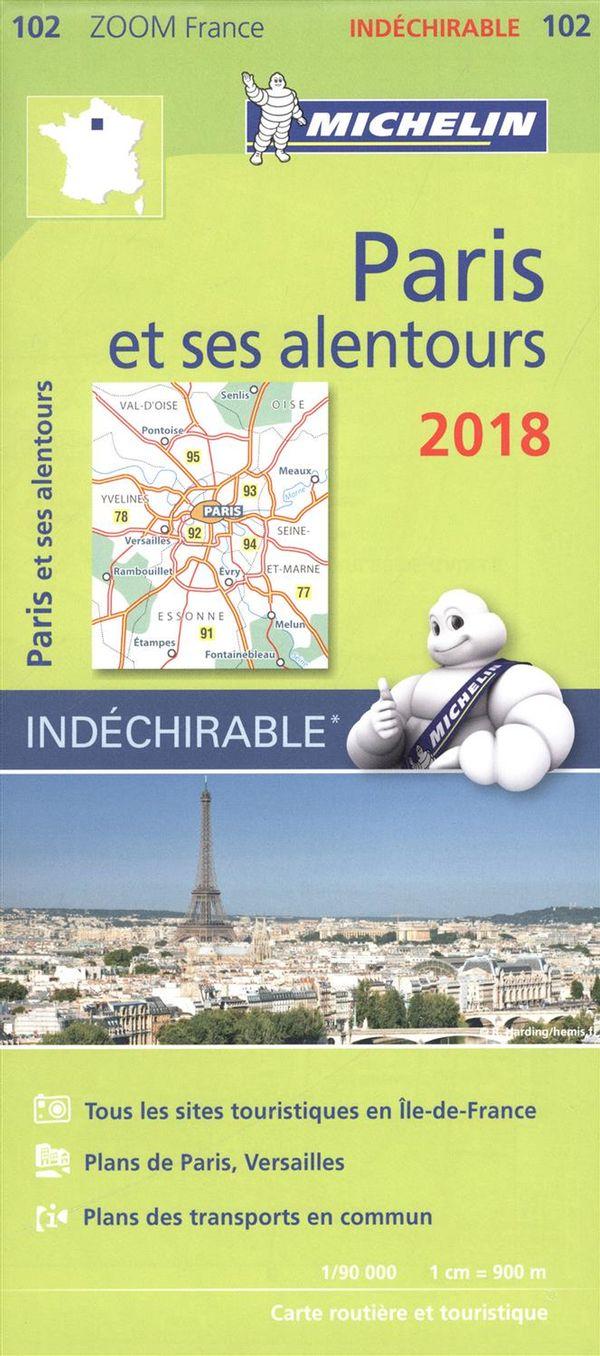 Paris et ses alentours 2018 - Carte zoom indéchirable