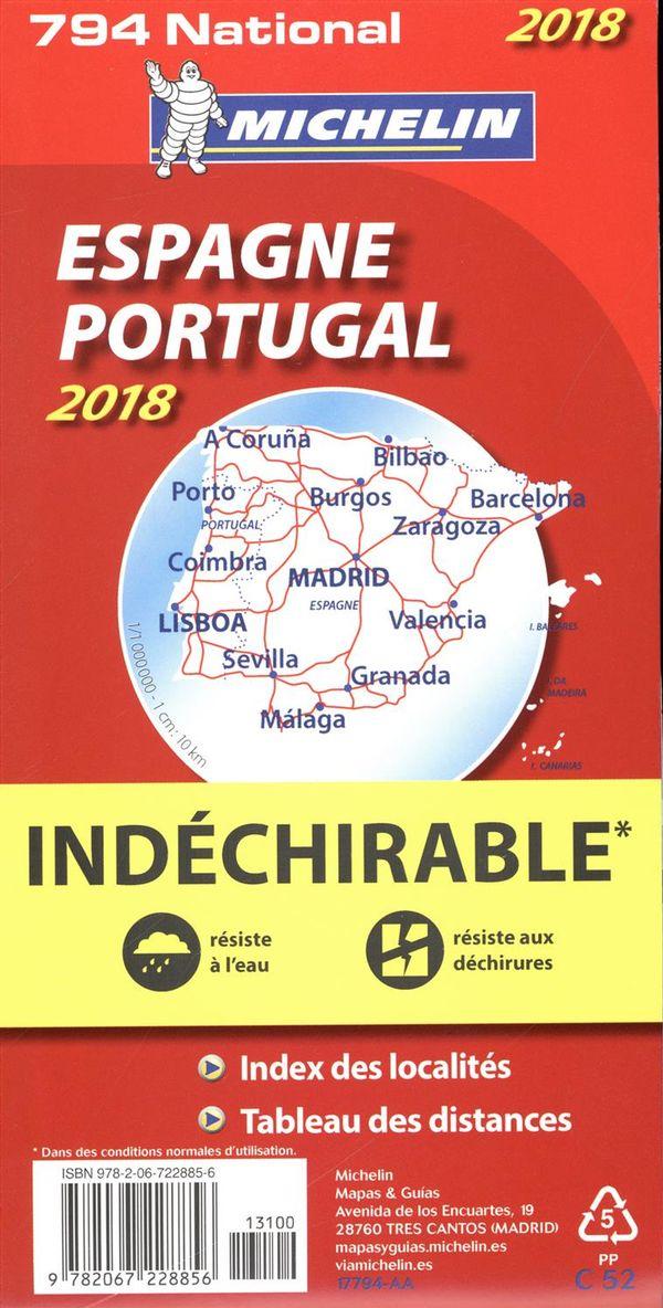 Espagne, Portugal 794 carte national 2018 indéchirable