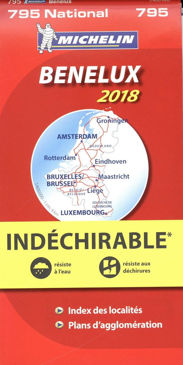 Benelux 795 carte national 2018 indéchirable