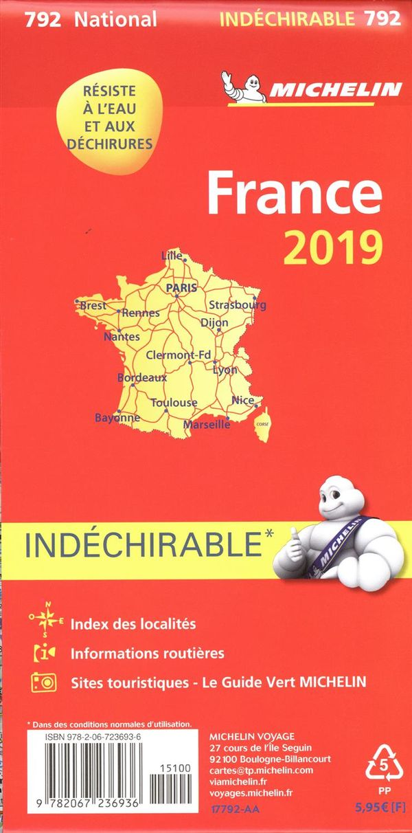 France 792 - carte nat. 2019 indéchirable