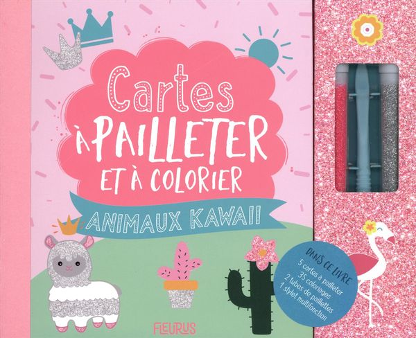 Cartes à pailleter et colorier - Animaux Kawaii
