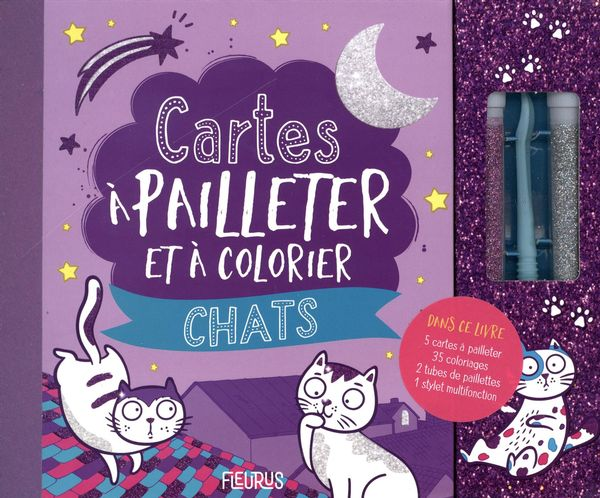 Cartes à pailleter et colorier - Chats