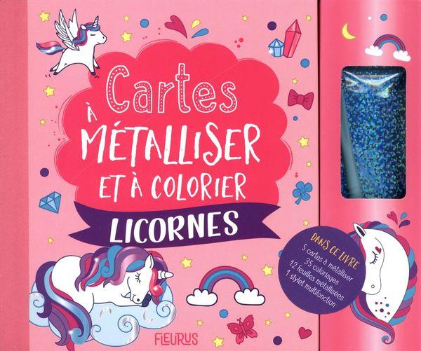 Cartes à métalliser et à colorier - Licornes