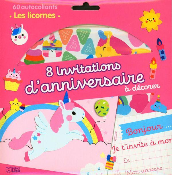 8 invitations d'anniversaire à décorer : Les licornes
