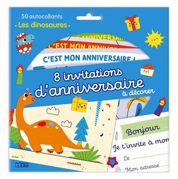 8 invitations d'anniversaire à décorer : Les dinosaures