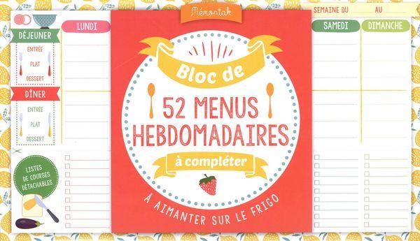 Bloc de menus à compléter Mémoniak 2020