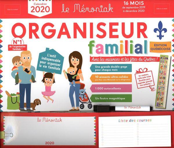 Organiseur familial Mémoniak 2019-2020 spécial Québec