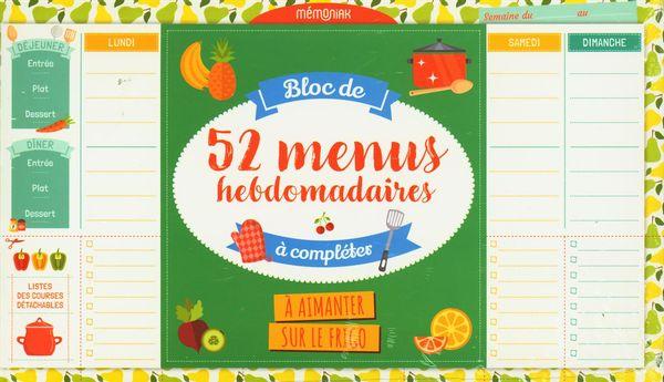 Bloc de 52 menus hebdomadaires à compléter Mémoniak 2021