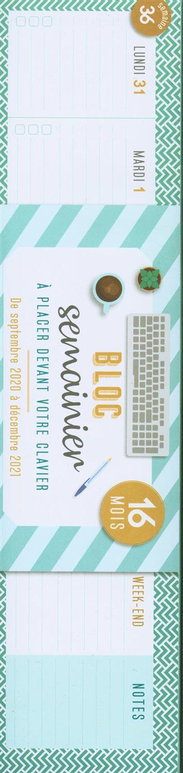 Semainier bloc clavier 2020-2021