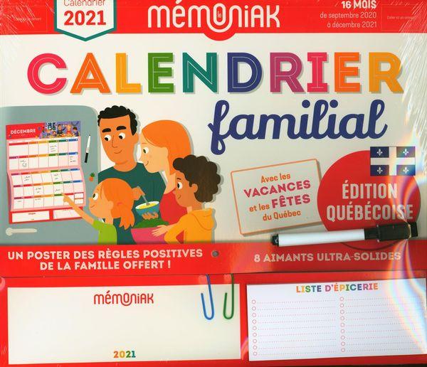 Calendrier familial Québec 2020/2021 - Mémoniak