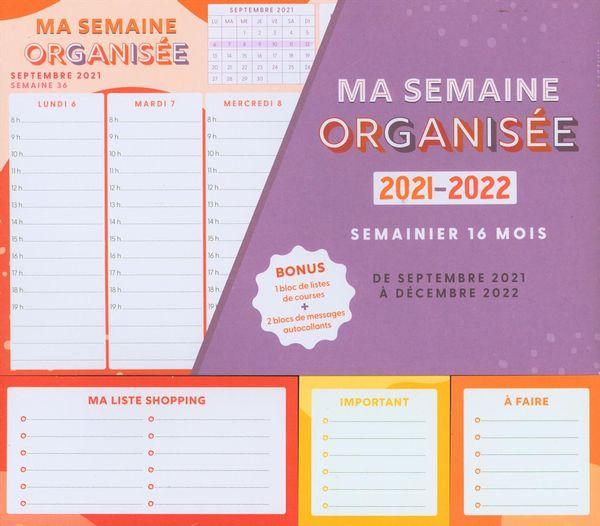 Ma semaine organisée 2021-2022