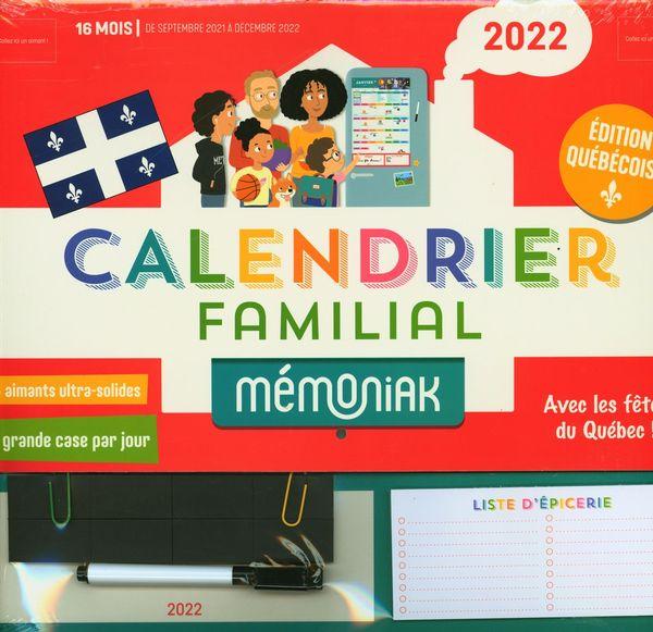Calendrier familial Mémoniak 2021-2022 spécial Québec