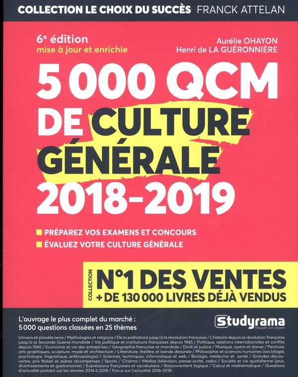 5000 QCM de culture générale 2018-2019
