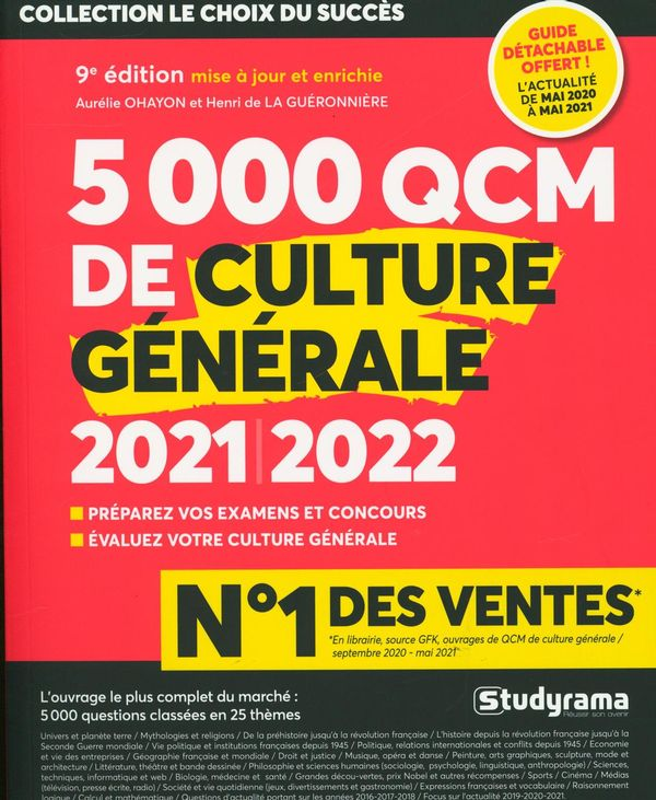 5000 QCM de culture générale 2021-2022 - 9e édition