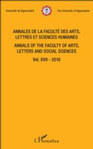 Annales de la faculté des arts, lettres et sciences humaines Vol XVII - 2016